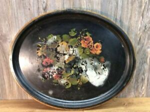Antique-Steel-Serving-Tray-Metal-Hand-Painted-Flowers-Very-Large-A9