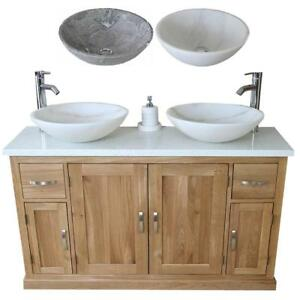 Image Is Loading Oak Bathroom Vanity Unit Quartz Top Cabinet Twin