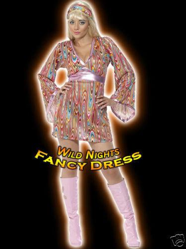 FANCY DRESS COSTUME # 70/'S HIPPIE HOTTIE DRESS SM 8-10
