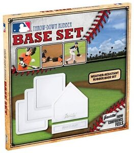 Franklin-5pc-set-rubber-baseball-base-home-plate-pitchers-mound-throw-down-1985