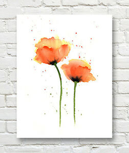 Original Botanical Watercolor Painting Original Floral Painting w Poppies on Paper Flower Power Cottage Style Signed /& Dated 1977
