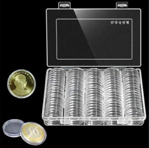 Nouvellement-100-Pieces-27mm-Rond-Etuis-Piece-de-Monnaie-Rangement-Capsules