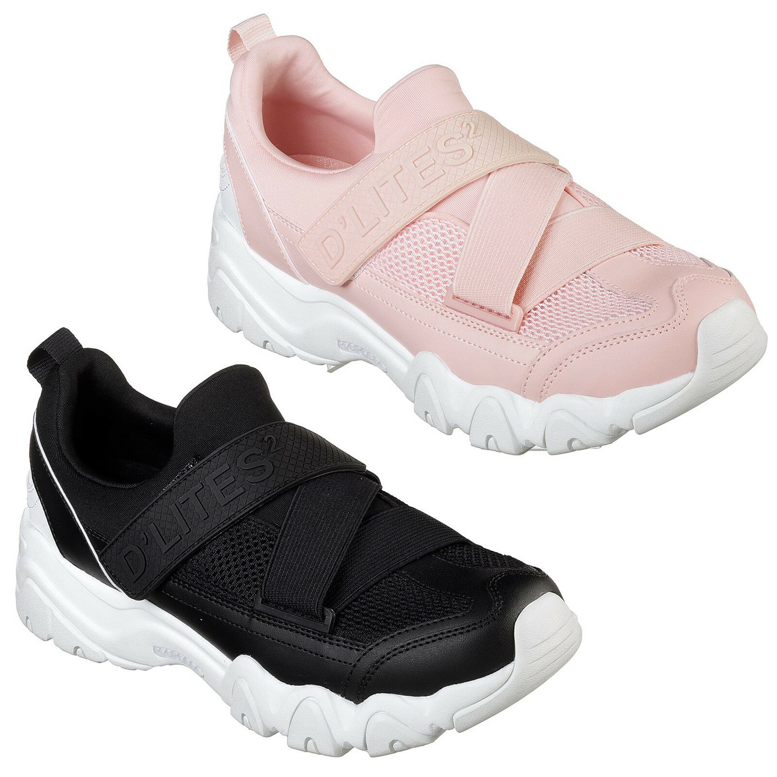 Skechers D'Lites 2 Fast look Trainers Memory Foam Chunky Strap Fashion Womens