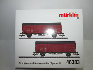 Marklin-46383-Wagon-Set-2-Covered-Freight-Car-Glm-Sncb-Original-Package-Scale-H0