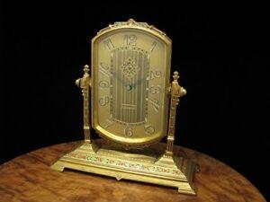 Genial Antike Jugendstil 8 Days Tischuhr / Kaminuhr Mit Weckfunktion Von 1927 Im Sommer KüHl Und Im Winter Warm