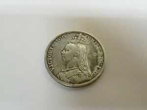 Collectable-Antique-1891-Victorian-Sterling-Silver-Crown-Coin
