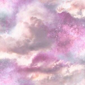 Details About Arthouse Diamond Galaxy Cloud Wallpaper 260009 Pastel Pink Purple Glitter