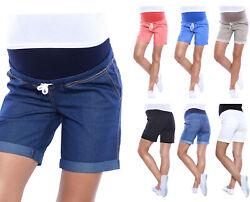 MijaCultue Kurze Jeans Umstandsshorts Umstandshose mit Bauchband für Sommer 4122