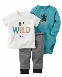 85dee9b7d New Carter's 3 Piece I'm WILD ONE Bodysuit Top Pants Set 12m 9m 6m ...