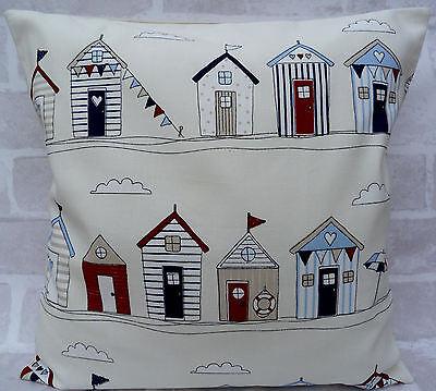 1 x Fryetts Beach Huts Multi Cream Blue Red Cushion Covers