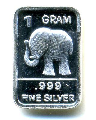 Elephant 1 Gram .999 Fine Pure Solid Silver Bar
