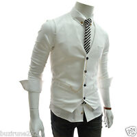 (GVE) TheLees Mens Slim Fit Chain Decoration Point 4 Buttons Vest Waist Coat