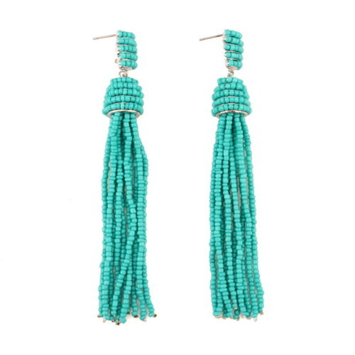 Chunky Colorful Bead Tassel Boucles d/'oreilles Femmes Statement Dangle Handmade Bohême