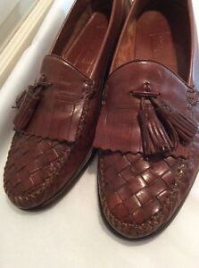 Cole Haan Resort US 10 Brown Leather Woven Tassel Loafers