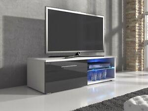 Meuble Tv Armoire Samuel 120 Cm Corps Blanc Mat Brillant Gris Avant Ebay