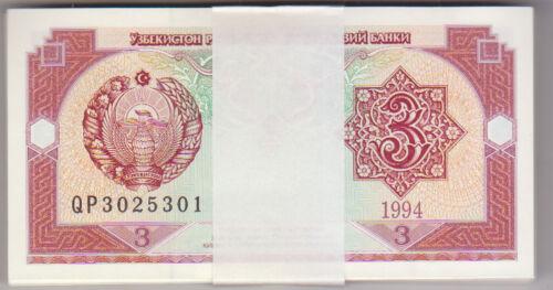 Lot 50 pcs Uzbekistan 3 Sum 1994 Pick 74 UNC