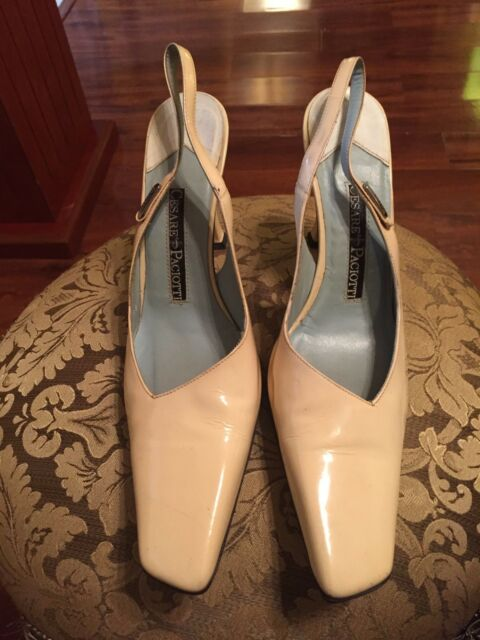 Cesare Paciotti Ivory Patent Leather Slingback Pumps - Size 38