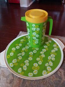 Vintage Mod Floral Tray Pitcher Alladinware Plastic Lime