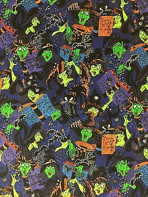FUN 2003 Witch Witches Casting Spells Spell Book Cauldron Black Cats Fabric BTHY