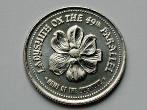 Ladysmith-BC-Vancouver-Island-CANADA-1985-Dogwood-Flower-Trade-DOLLAR-Token