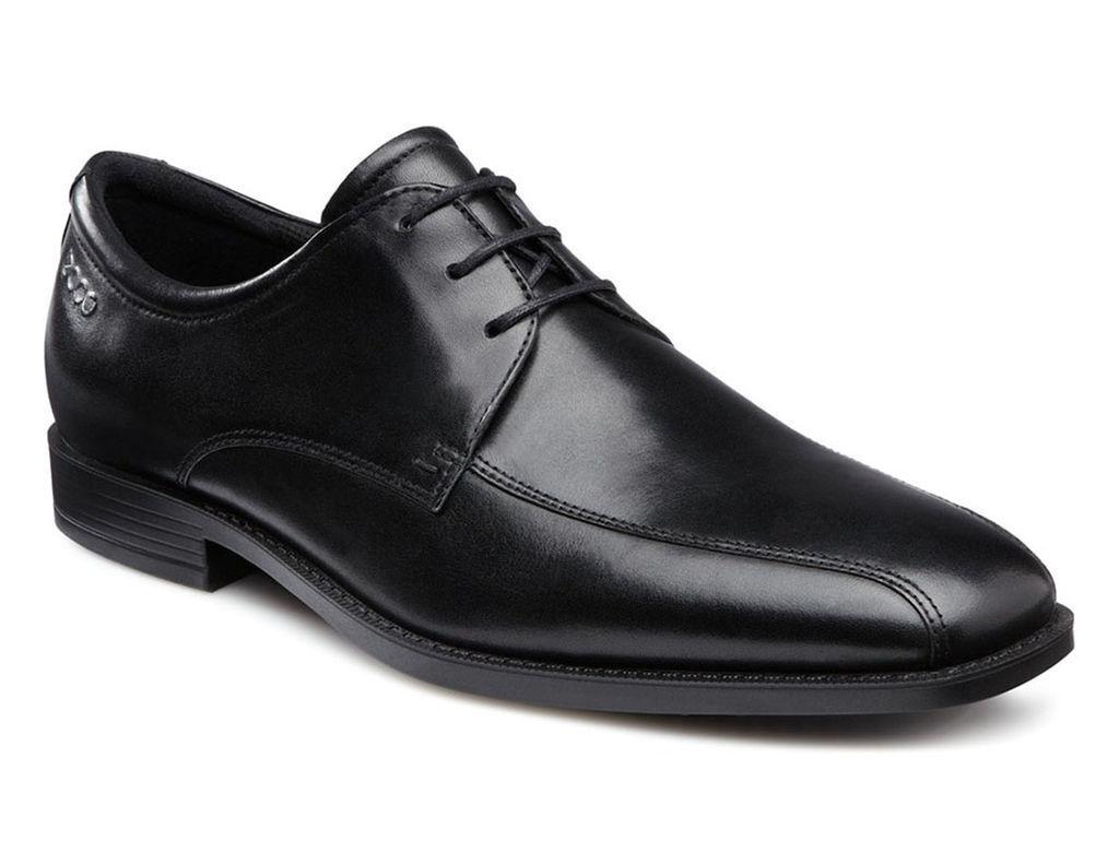 ECCO Men's 632514 Edinburgh Bike Toe Black Leather Tie Oxford