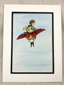 Originale-Acquerello-Pittura-Coccinella-Bug-Fantasia-Art-per-Bambini-Libro