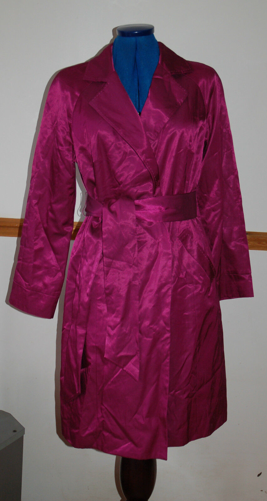 ️ New Sz 10-12 Boden Maroon pink Shiny Satin Trench Coat With belt Party Gift