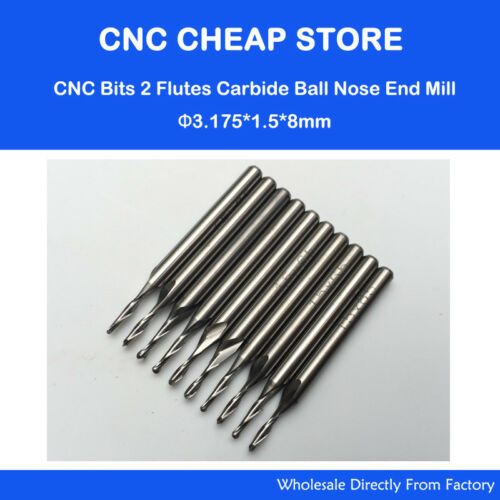 10pcs Ball End Nose Carbide Double Flute Spiral CNC Router Bits 3.175 ×1.5×8mm