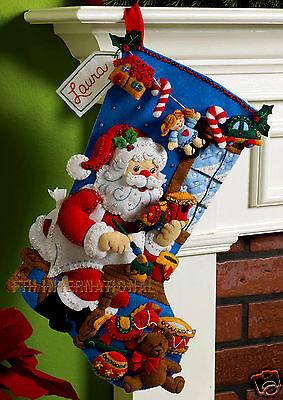 "Bucilla In The Workshop ~ 18"" Felt Christmas Stocking kit #86165 Santa Toys 2009"