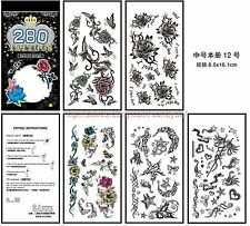 US Seller- rose flower moon star 5 sheets removable temporary tattoo mini book