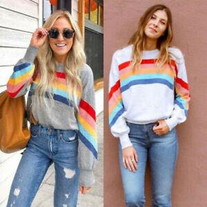 Womens-Rainbow-Striped-Pullover-Sweater-Ladies-Long-Sleeve-Jumper-Sweatshirt-Top