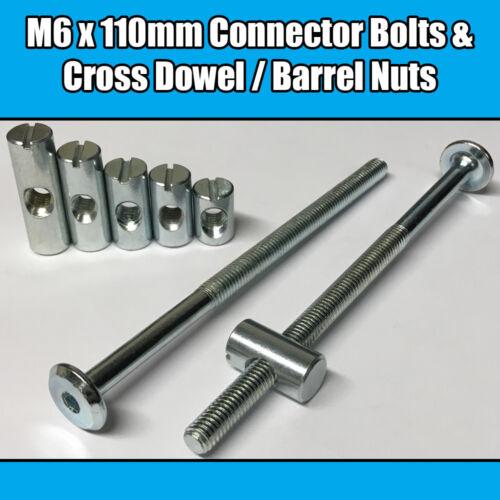 M6 x 110mm Furniture Connector Bolts /& Cross Dowel Barrel Nuts Joint Fixing Unit