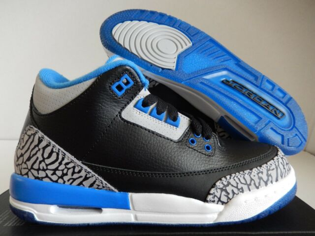13b316bde556 Nike Air Jordan 3 III Retro Black Sport Blue 398614-007 Youth 5.5 ...