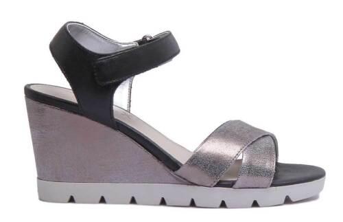 The Flexx Lot Off Women Leather Matt Sandal In Silver Black Size UK 3 - 8 Silverblk