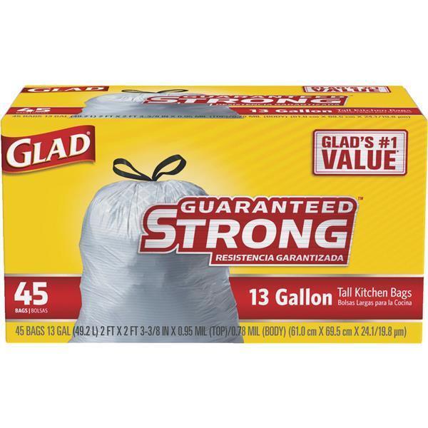 3-Glad Weiß 13 Gal Guaranteed Strong Tall Drawstring Kitchen Trash Bag 78362