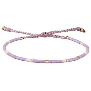 KELITCH Purple Mix Shell Beaded Wrap Bracelet Handmade Friendship Jewelry Purple