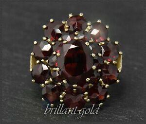 Granat-Ring-Gelbgold-Antik-um-1930-11-5ct-boehmische-rote-Granate-aus-333-Gold