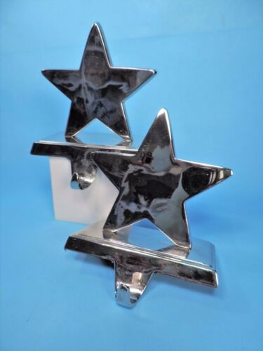 2 SILVER STAR CHRISTMAS STOCKING HANGER HOLDERS EUC