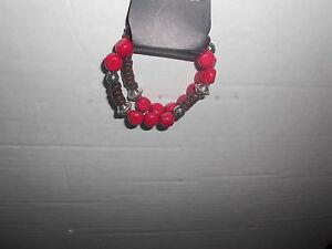 Paparazzi Stretch Bracelet New Red Brown Silver Beads 2 Bracelets
