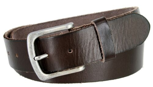 Sizes 32-40! Classic Oil-tanned Genuine Leather Casual Jean Belt for Men
