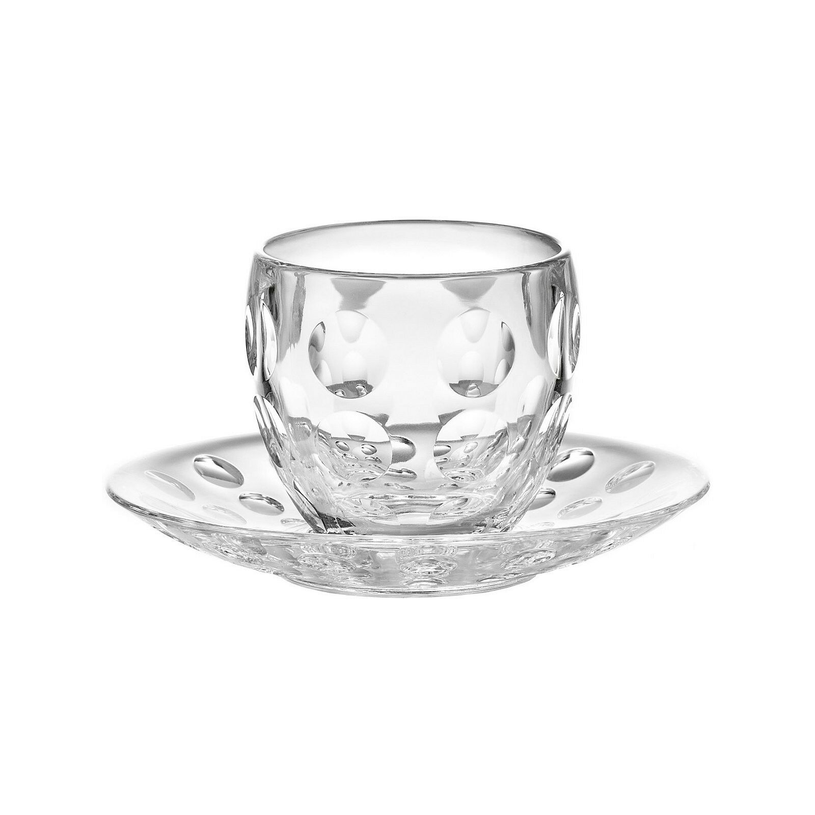 Guzzini Set 6 tasses du café avec soucoupe série  Venice ,couleur cristal