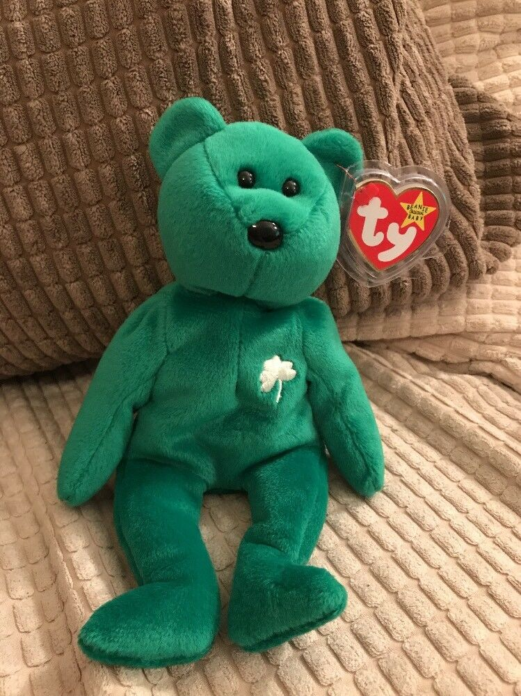 Ty Original Beanie Babies 'Erin' Green Bear with errors. Limited Edition.