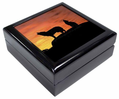 AW-5JB Sunset Wolves Keepsake//Jewellery Box Christmas Gift