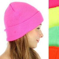 Neon Hat Winter Warmth Cap Beanie Pink Yellow Green Or Orange Double Layer