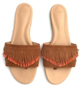 68678f67b7c Details about Ugg Binx Women's Suede Leather Chestnut Fringe Slide Sandals  Size 9.5