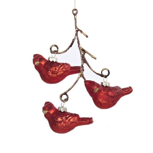 HAND BLOWN GLASS RED BIRD CARDINAL TRIO ON BRANCH TWIG CHRISTMAS TREE ORNAMENT