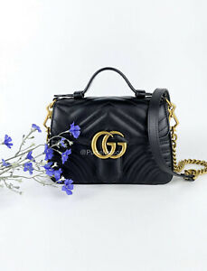 Gucci GG Marmont Mini Top Handle Bag with Entrupy