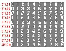 "Football Helmet  Number Decals 1/"" tall  Set of 10 numerical numbers 11-20"