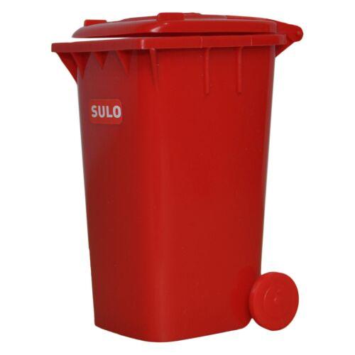 1  Stück SULO Mini Müllbehälter Rot Mülltonne Schreibtischorganizer Stifteköcher