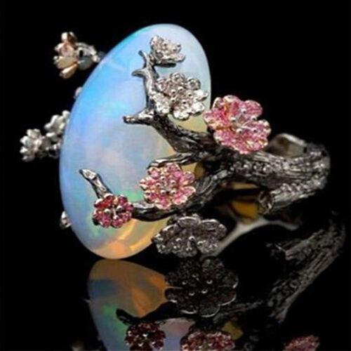 Women/'s Vintage Prune Bague Bijoux Mariage Opale de feu Plum Flower Party Taille 5-10